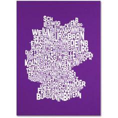 Trademark Art 'purple-Germany Regions Map' Canvas Art by Michael Tompsett, Size: 14 x 19, Purple