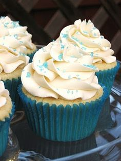 Vanilla cupcakes - these taste like a sugar cookie! I used frosting that needed to be refrigerated, but I think next time I would use something else because these have the best flavor and texture at room temp.