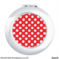 Red and white dot patterns compact mirrors
