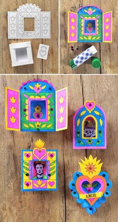 this nicho craft activity: for Day of the Dead + 5 templates! Make Mexican nicho craft activity: Printable papercraft ideas!Make Mexican nicho craft activity: Printable papercraft ideas! Kids Crafts, Projects For Kids, Art Projects, Diy And Crafts, Arts And Crafts, Easy Crafts, Easy Diy, Mexican Crafts, Mexican Folk Art