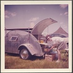 1960's Teardrop Trailer....yeah those days that were hell for mama....really, really roughing it...good times, good times....