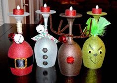 Christmas Wine Glass candle holders- made with dollar store wine glasses.I love the Grinch Christmas Projects, Holiday Crafts, Holiday Fun, Christmas Ideas, Holiday Parties, Cheap Christmas Crafts, Festive, Christmas Decoupage, Xmas Party