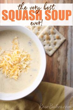 """This is the Best Squash Soup Recipe! This semi-homemade soup is made with yellow squash from the garden, some """"cream of this"""" and """"cream of that"""" soups, and lots of Velveeta cheese. It has a chowder-like quality that is jam packed with flavor and a super creamy texture. You're going to love it! #squashsoup #souprecipe #squashrecipe #freshsquash #velveeta #semihomemade"""