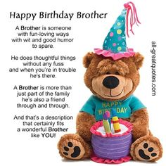 Happy Birthday Brother happy birthday happy birthday wishes happy birthday quotes happy birthday images happy birthday pictures happy birthday brother happy birthday brother quotes Happy Birthday Brother Messages, Nice Birthday Messages, Brother Birthday Quotes, Cute Happy Birthday, Happy Birthday Quotes, Happy Birthday Images, Happy Birthday Greetings, Humor Birthday, Happy Birthday Little Brother