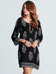 Women Vintage Floral Printed 3/4 Sleeve Boho Mini Dresses at Banggood  #women #fashion