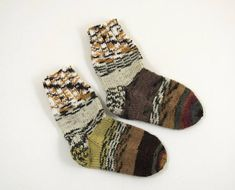 Knitted Wool Socks  Gray Brown Yellow and Beige Size Small