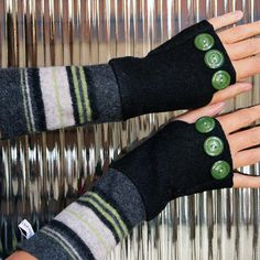 Wool Fingerless Gloves Arm Warmers Felted Sweater Repurposed Mittens- Black & Green Stripes with Buttons