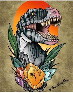 neo traditional tattoo t rex T Rex Tattoo, Fake Tattoo, Jurassic Park Tattoo, Tattoo Girls, Girl Tattoos, Tattoo Sketches, Tattoo Drawings, Hand Tattoos, Body Art Tattoos