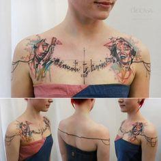 """artist: Carola Deutsch / Titel: """"the good times and the bad times"""" / Körperstelle: Oberkörper / Entstehungsjahr: 2015  / Material: Tattoofarbe unter Haut"""