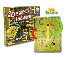 Little Treasures 3D Snakes N Ladders Kids Classic Board Game Family Night Fun Cooler Newer Look then the Original Version Compare to Chutes and Ladders ** Check out the image by visiting the link. Note:It is Affiliate Link to Amazon.