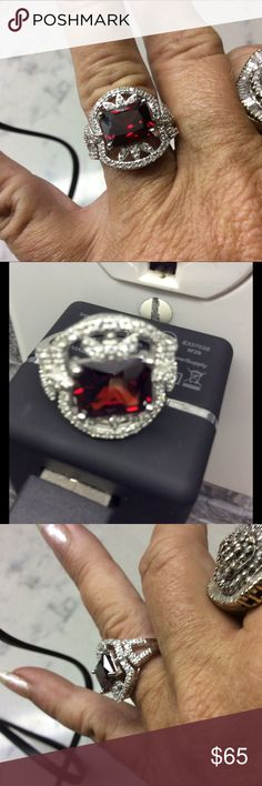 Silver Garnet Ring Amazing and Beautiful bold vintage appeal on this 925 Silver with 3.5 cts garnet. Fleur de lis white sapphire all around.  BNIB. Elite Jewelers Jewelry Rings