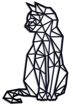 Geometric wooden cat Yes there it is! the geometric cat For the cat mommies and cat womens and of co Geometric Cat Tattoo, Geometric Drawing, Geometric Shapes, Geometric Fox, Tattoo Abstract, Geometric Sleeve, Abstract Art, 3d Zeichenstift, Chat Origami