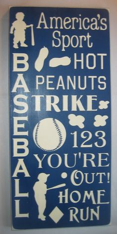 Baseball, Sports, Bedroom, Nursery, Playroom, Wall Art, Word Art, Sign, Decor