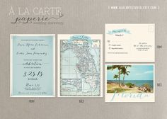 with a different font maybe?   Florida Wedding Invitation and RSVP card by alacartestudio on Etsy, $40.00