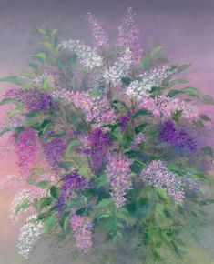 """""""Lilacs """" painting by artist Arnold Alaniz. Watercolor Lettering, Watercolor Cards, Floral Watercolor, Watercolor Paintings, Acrylic Flowers, Abstract Flowers, Acrylic Art, Lilac Painting, Painting Prints"""
