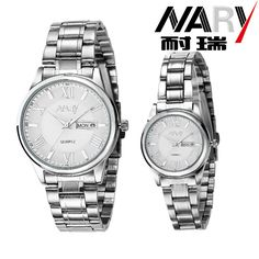 >> Click to Buy << Nary Silver Stainless Steel Design Double Calendar Men & Women Wrist Watches Quartz Bracelet Gift Couple's Watches 1/PCS price #Affiliate