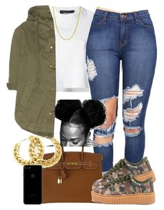 """""""Yall Like This ?"""" by goddessnaii ❤ liked on Polyvore featuring Dsquared2, Hermès, Current/Elliott and Pori"""