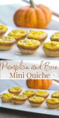 Use a mini muffin tin to create these Pumpkin and Brie Mini Quiche to serve as individual appetizers for your next holiday gathering. Individual Appetizers, Thanksgiving Appetizers, Holiday Appetizers, Appetizer Recipes, Mini Appetizers, Delicious Appetizers, Thanksgiving Feast, Healthy Appetizers, Thanksgiving Recipes