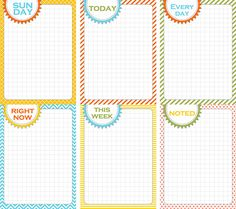 Free Days of the Week Journals Cards from Finding Nana
