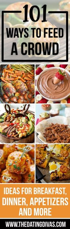 Ah-mazing resource - I need easy recipes with little prep time so I can enjoy quality time with family during the holidays! budget for 100 people Easy Ways to Feed a Crowd - From The Dating Divas Cooking For A Crowd, Cooking On A Budget, Food For A Crowd, Budget Meals, Budget Recipes, Meals For A Crowd, Potluck Dishes, Potluck Recipes, Easy Dinner Recipes