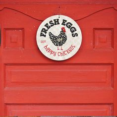 "Fresh Eggs from Happy Chickens Sign 9"" Round - Milk Paint SKU: SR9047"