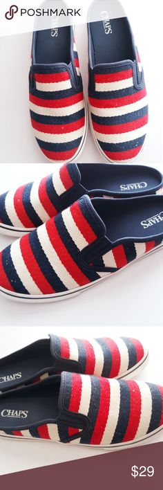 ccf721280e Chaps Brand, Canvas Slip On Shoes, Shoes Style, Blue Canvas, Red White  Blue, Cotton Canvas, Counter, Business, Espadrilles