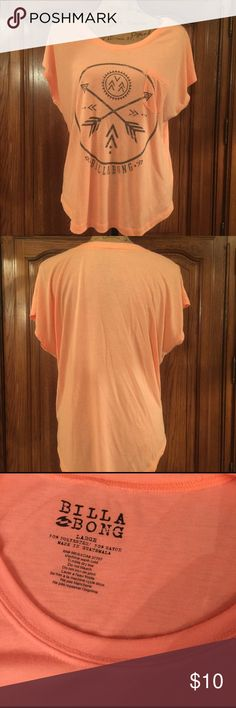 """Billabong Tee Size large made of 50% polyester and 50% rayon.  Gently worn no holes or piling. It measures 23"""" underarm to underarm and measures 23.5""""long measured from shoulder to hem in the front and 27""""long in the back Billabong Tops Tees - Short Sleeve"""