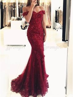 Mermaid Off-the-Shoulder Dark Red Prom Dress with Beading Appliques