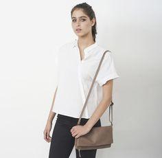 Taupe brown small leather bag. Via en.DaWanda.com.