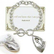 """Designer Inspired Religious Bible Verse Psalm 46:10 Charm Bracelet / Message """"Be Still and Know That I Am God"""" / Silver-tone / Toggle LAN001,http://www.amazon.com/dp/B00BI6BZAE/ref=cm_sw_r_pi_dp_82wWsb01JBGXMFQB"""