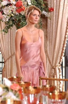 Marissa Cooper in a blush pink dress hitting all the right metallic notes. -A alyssalapid.com