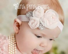 coral headband baby headband flower headband от ThinkPinkBows