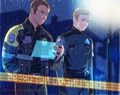 Police officer Markus and his partner police android Simon #DetroitBecomeHuman #dbh #MarkusSimon #simarkus