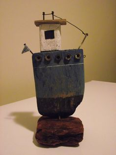 Handmade driftwood boat MB1 by 50thParallel on Etsy