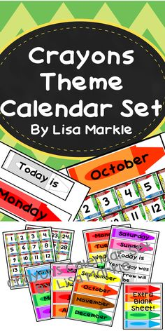 "This cute and color calendar set includes numbers, months, days of the week, ""Today is,"" ""Tomorrow is,"" and ""Yesterday was"" printables! It also includes a sheet of blank crayon labels that you can use to decorate around your calendar or add to it! This would make a great addition to a preschool or elementary circle time wall!"