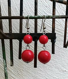 Holiday Red Long Minimalist Earrings, Dainty Simple Bright Red Earrings, Simple Long Apple Red Earrings, Girls Pretty Red Earrings Free Ship Red Earrings, Simple Earrings, Beaded Earrings, Stocking Stuffers For Her, Gifts For Fiance, Art Deco Necklace, Beaded Top, Gold Glass, Red Apple