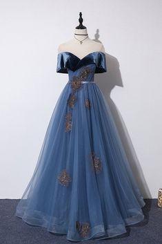 Elegant Ocean Blue Prom Dresses 2019 A-Line / Princess See-through Scoop Neck Short Sleeve Glitter Tulle Appliques Lace Beading Sash Floor-Length / Long Ruffle Backless Formal Dresses Blue Evening Dresses, V Neck Prom Dresses, Ball Dresses, Ball Gowns, Formal Dresses, Quince Dresses, Pageant Dresses, Dresses Dresses, Pretty Dresses