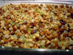 Traditional moist dressing, baked outside of the bird. I make this when I am cooking a turkey breast without the cavity.