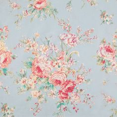 (for pocket on pink gingham) have plenty --Floral on Blue Cotton Calico Fabric