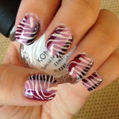 Purple Zebra Nails