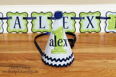 Boys First Birthday Party Hat and Birthday Banner by DaintyCouture, $35.00
