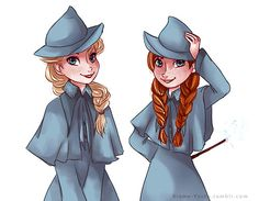 Elsa and Anna as Beauxbatons students