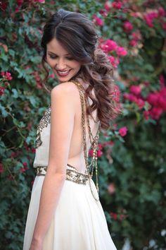 Grecian-inspired wedding dress, photo by Zaugh Photography http://ruffledblog.com/huron-substation-wedding #weddingdress #grecian #bridal