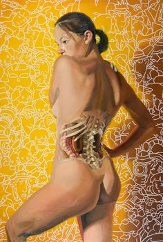 'Lower back anatomy' - Michael Reedy {figurative female human body woman lumbar spine posterior behind gluteus painting} Peripheral Nervous System, Endocrine System, Lymphatic System, Respiratory System, Muscles Of The Neck, Blood Components, Spinal Nerve, Skeletal Muscle, Human Body