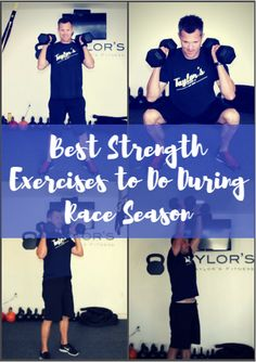 When it comes to maintaining strength, you're going to target compound exercises--deadlifts, squats and shoulder presses. Exercises that use the big muscle groups are your friends. Remember, your races take priority, so there is no need to set a personal weightlifting record during this time. Best Strength Exercises to Do During Race Season http://www.active.com/triathlon/articles/best-strength-exercises-to-do-during-race-season?cmp=17N-PB33-S31-T1-D4--1104