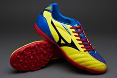 Mizuno Football Boots - Mizuno Ignitus Club 3 AS - Astro Turf - Soccer Cleats - Bolt-Black-Victoria Blue-Chinese Red