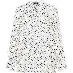 Frapp Cream / Black Plus Size Printed blouse ($64) ❤ liked on Polyvore featuring tops, blouses, cream, plus size, plus size polka dot blouse, womens plus tops, long sleeve blouse, womens plus size tops and pattern blouse