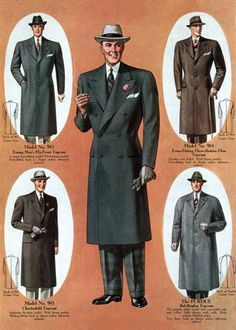 1930's men's coats.  Top left looks like his grandfathers coat that he wears.  It was also handmade.