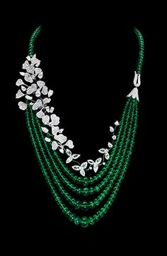 Emerald & diamond 'Wildflower' necklace by David Morris ~ A STUNNER!!! ~