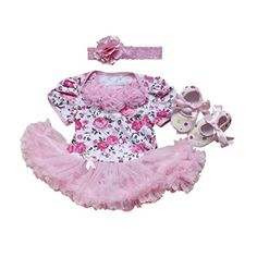 KUCI 3PCs Girls Pink Roses Princess Short Sleeve Tutu Dress Headband Shoes S >>> Check out the image by visiting the link.
